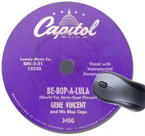 Gene Vincent Be-Bop-A-Lula Record Label Mouse Mat.  Rockabilly  Rock N' Roll Mouse Pad